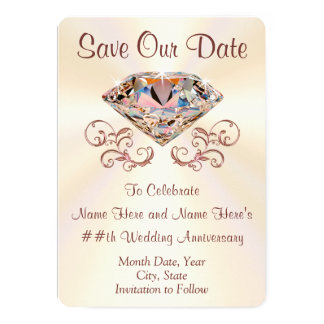Diamond Anniversary Save the Date Cards, Your Text Card