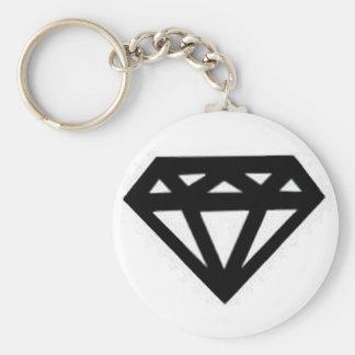 diamond basic round button keychain