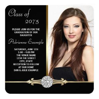 Diamond Black and Gold Glam Graduation Card