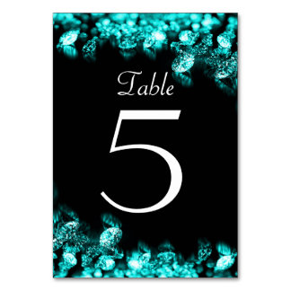 Diamond Black and Turquoise Table Card