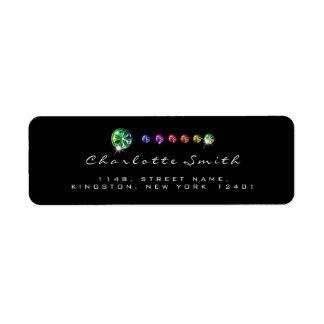 Diamond Black Rainbow RSVP Address Labels