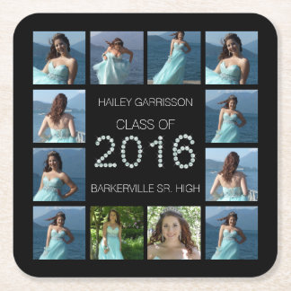 Diamond Bling 2016 Graduation 12 Photos Square Paper Coaster