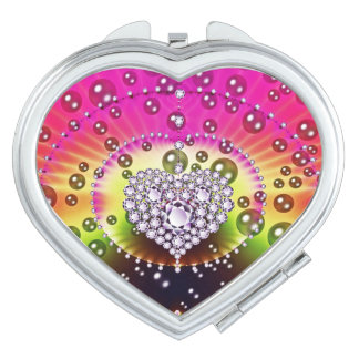 Diamond Bling Heart Compact Mirror