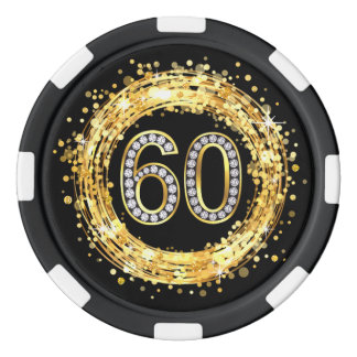 Diamond Bling Number 60 Glitter Confetti | gold Poker Chips