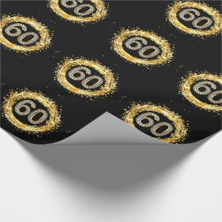 Diamond Bling Number 60 Glitter Confetti | gold Wrapping Paper