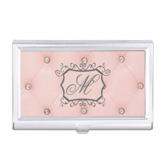 Diamond Bling Pink Monogram Business Card Hold Business Card Holder