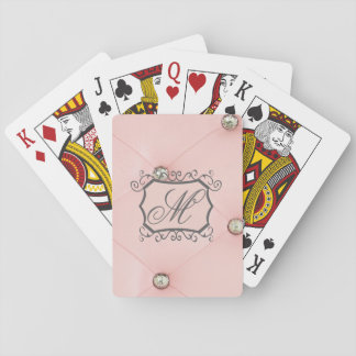 Diamond Bling Pink Tufted Leather Playing Cards