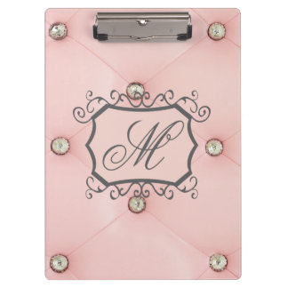 Diamond Bling Pink Tufted Monogram Clip Board