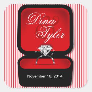 Diamond Bling Ring Box square red Square Sticker