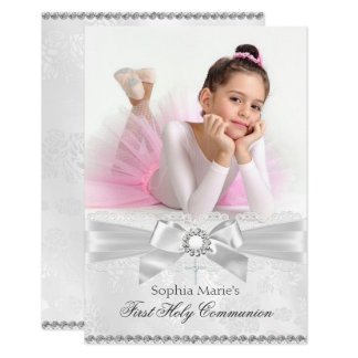 Diamond Bow & Cross Photo First Holy Communion Card