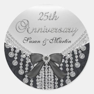 Diamond Bow & Damask 25th Anniversary Sticker
