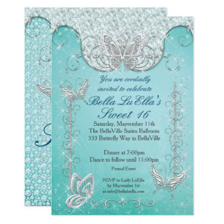 Diamond Butterfly Party Invitations