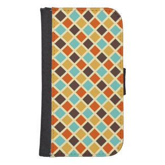 Diamond Checkered Blue Yellow Red Retro Colors Phone Wallets