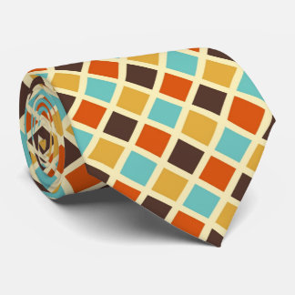 Diamond Checkered Blue Yellow Red Retro Colors Tie