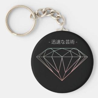 Diamond Chinese Inspired Key-ring Basic Round Button Keychain