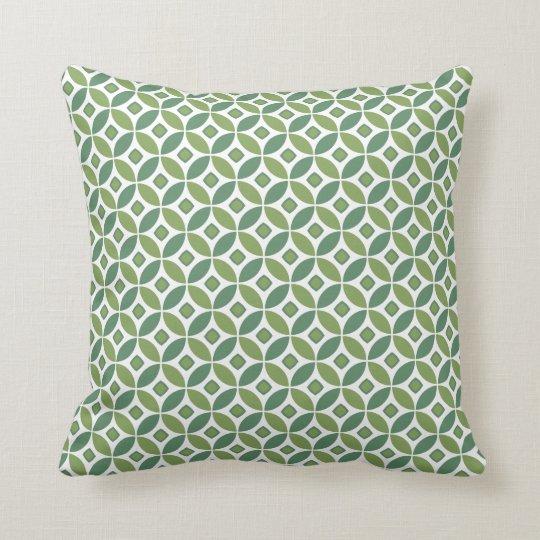 Diamond Circle Pattern Pillow - light green back