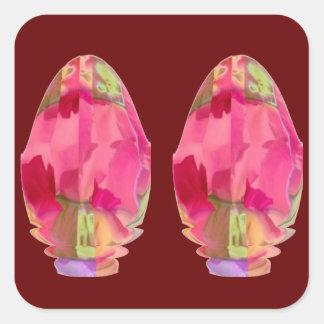 Diamond Crystal : RedRose PinkRose Petals Square Sticker