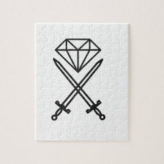 Diamond cut jigsaw puzzle