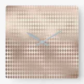 Diamond Cuts Pearly Metallic Blush Pink Rose Gold Square Wall Clock