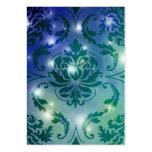 Diamond Damask, FAIRY LIGHTS in Blue & Teal Business Card Template