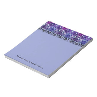 Diamond Damask, FAIRY LIGHTS in Plum and Blue Notepad