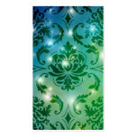 Diamond Damask, FAIRY LIGHTS in Teal & Green Business Card Template