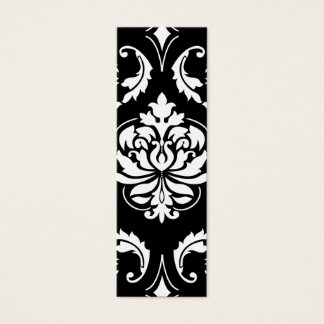 Diamond Damask in White on Black Mini Business Card