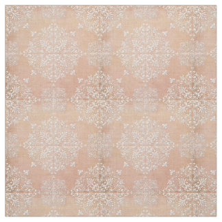 Diamond Damask Lace Peach Fabric Material