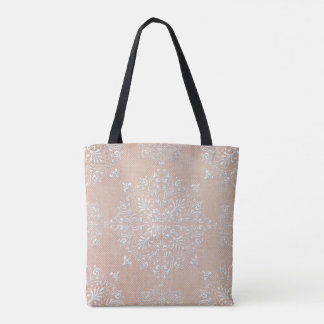 Diamond Damask Lace Peach Tote Bag