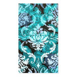 Diamond Damask, Shanghai in Teal and Light Blue Pack Of Standard Business Cards