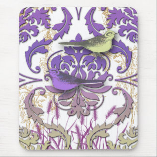 Diamond Damask, SPRING BIRDS in Purple & Yellow Mouse Pad