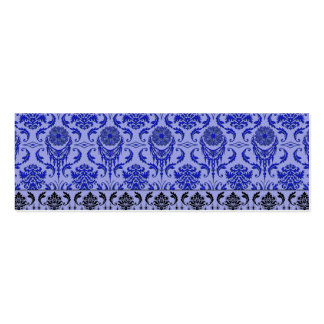 Diamond Damask, THE QUEEN'S JEWELS in Blue Mini Business Card