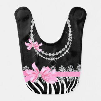 Diamond Delilah Zebra (Pink) Bib