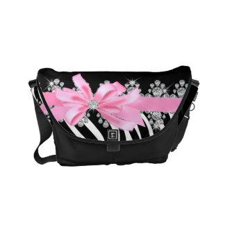 Diamond Delilah Zebra (Pink) Courier Bag