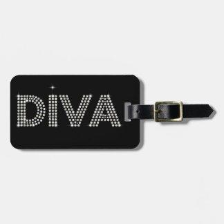 Diamond Diva Sparkling Black Luggage Tag
