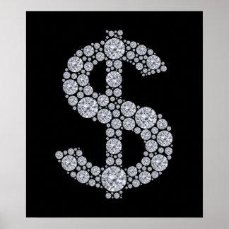 Diamond Dollar Sign Bling Poster