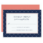 Diamond Dot RSVP Card   Coral and Navy