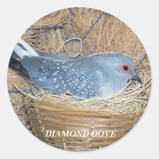 DIAMOND DOVE ON NEST STICKER