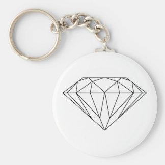 Diamond Drawing Black and White Modern Basic Round Button Keychain