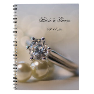 Diamond Engagement Ring and Pearls Wedding Spiral Notebook