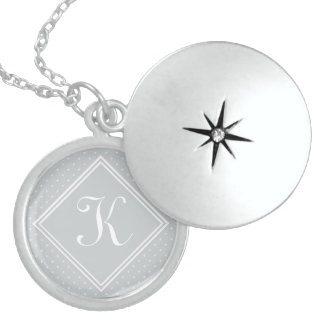 *** Diamond Florettes with Monogram Sterling Silver Necklace