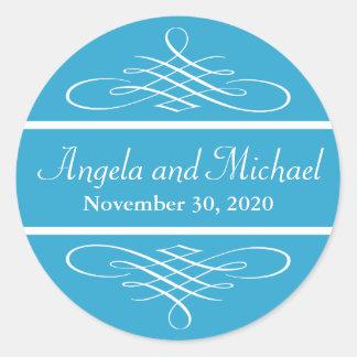 Diamond Flourish Wedding Labels (Blue) Classic Round Sticker