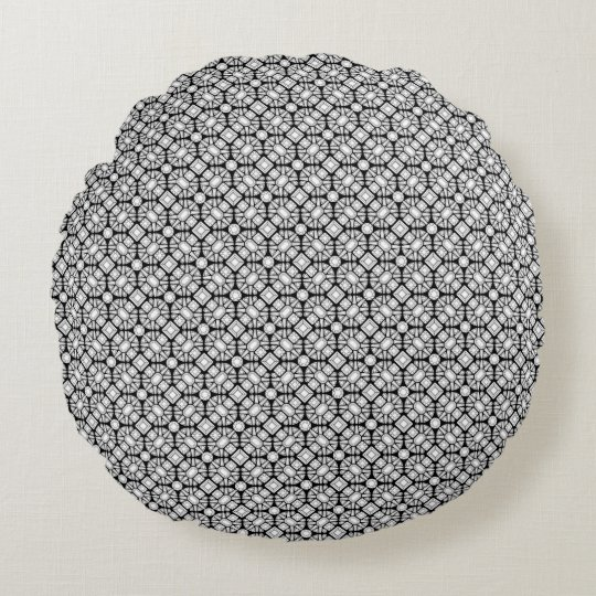 Diamond Gems Pattern Black and White Round Pillow