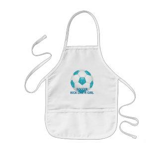 Diamond Gemstones Aqua Soccer Ball Kids' Apron