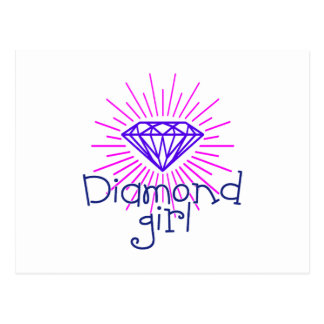 diamond girl, gem shining postcard
