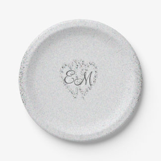 Diamond Glitter | Monogram Wedding Paper Plates