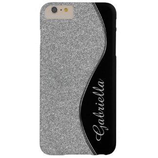 Diamond Glitter Silver Black Monogram iPhone Case