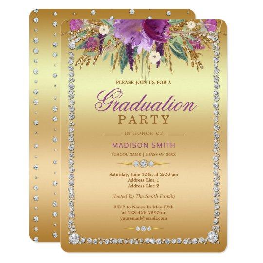 Diamond Glitter Watercolor Flowers Gold Grad Party Card