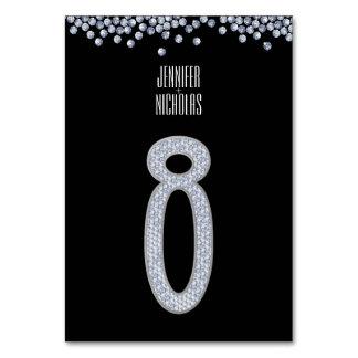 Diamond Glitter Wedding Table Number Eight Table Cards