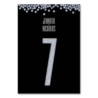 Diamond Glitter Wedding Table Number Seven Table Cards